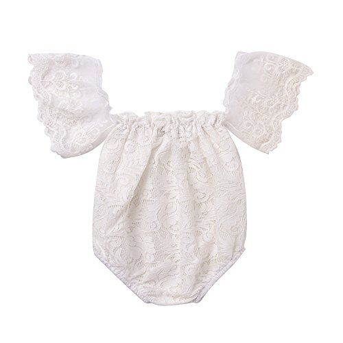 Romper Lace Romper (Mikrdoo Newborn Infant Baby Girl Flower White Lace Off Shoulder Romper Jumpsuit Outfit Clothes (80(6-12M)))