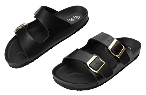 Pepstep Cork Sandals for Women Beach Footbed Thong Sandals Buckle Sandal for Women (9, Black) by Pepstep