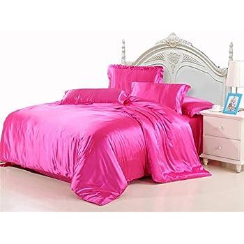 Amazon Com Rose Silk Like Duvet Cover Set With Flat Sheet