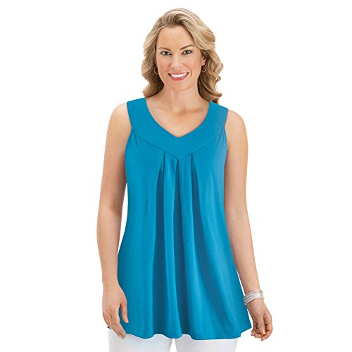 Collections Etc Women's Pleated Knit Sleeveless Tunic, Turquoise, Large (Sleeveless Top Turquoise)