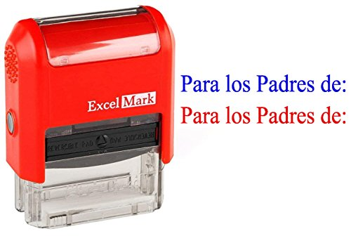 PARA LOS PADRES DE - ExcelMark Self-Inking Two-Color Rubber Spanish Teacher Stamp - Perfect for Grading Homework - Red and Blue Ink