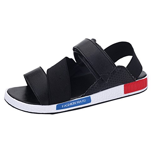 amp;W Mens Ankle H Strap Toe Sandals Summer Fashion Black Outdoor Open p6wx7gd
