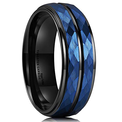 King Will Hammer 8mm Blue Hammered Tungsten Carbide Ring Black Two Tone Wedding Band Groove Step Edge9