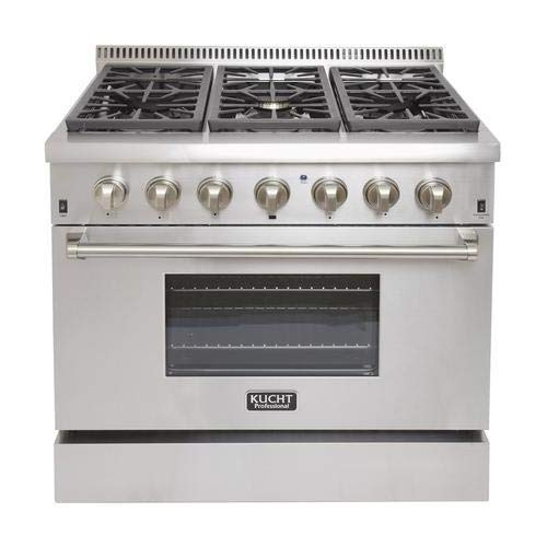 Kucht KRD366FLP 36″ Professional Liquid Propane Dual Fuel Range with 6 Sealed Burners 5.2 cu. ft. Oven Capacity 4″ Stainless Steel Backsplash Convection and 2 Halogen Lights in Stainless