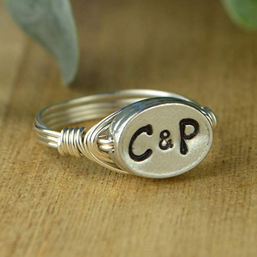 - Couples two Initials Ring- Sterling Silver, Yellow or Rose Gold Filled Wire Wrap/Pewter Two Block Letters Bead- Custom made to size 4-14
