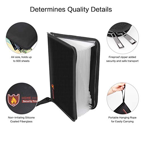 Fireproof File Folder Vdealen Fireproof and Water Resistant Money Document Bag with A4 Size 12 Pockets Zipper Closure Non-Itchy Silicone Coated Portable Filing Organizer Pouch (Black) by Vdealen (Image #1)
