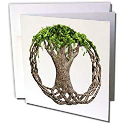 3dRose Macdonald Creative Studios – Celtic - A Tree of Life Symbol, a Popular Irish and Celtic Symbol. - 1 Greeting Card with Envelope (gc_295361_5)