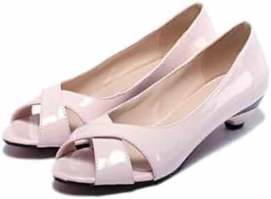 3249a4d3676994 Feilongzaitianba Med Heels Shoes 3.5cm Women Shoes Pumps peep Toe Fashion Party  Shoes Summer PU