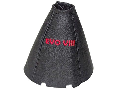For Mitsubishi Lancer Evolution 8 VIII 2003-2005 6 Speed Shift Boot Black Genuine Leather Red