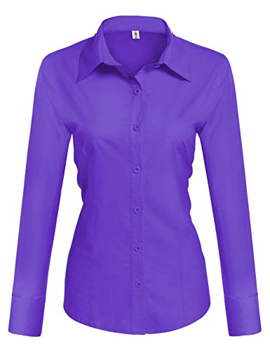 HOTOUCH Womens Tailored Long Sleeve Button Down Shirt With Stretch (Purple M) Tailored Ladies Shirt