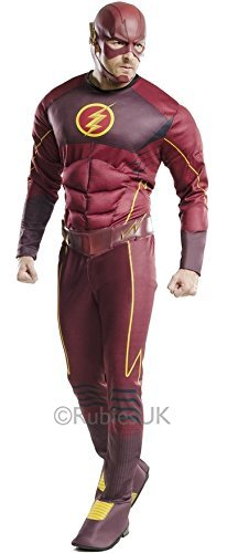Muscle Fancy Dress (Adult Mens Official Licensed DC Comics Deluxe Muscle Chest Flash Superhero Comic Book Hero Fancy Dress Costume Outfit STD & XL (STD) by Fancy Me)