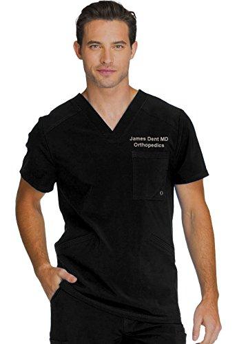 oidered Men's V-Neck Scrub Top (Medium, Black) ()