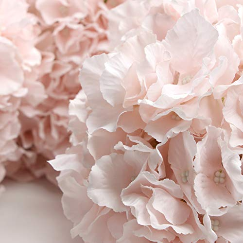Hydrangea Small (USA Party Flower 3Pc 6-Head Artificial Hydrangea for Home, Wedding, Party Decor (Blush Pink))
