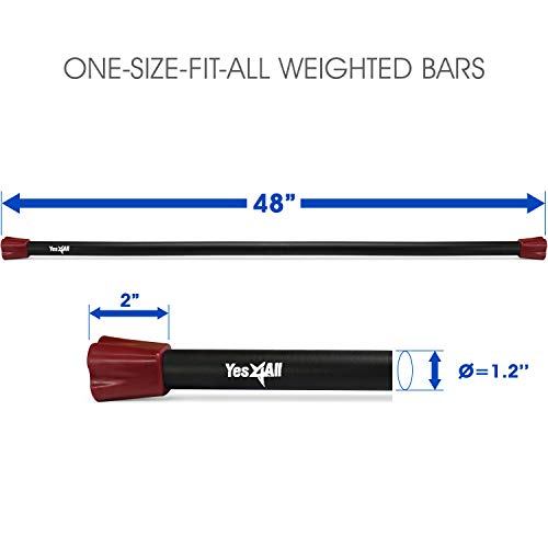 Yes4All Total Body Workout Weighted Bar / Weighted Workout Bar – Great for Physical Therapy, Aerobics and Yoga – Weighted Exercise Bar (8 lbs) by Yes4All (Image #2)