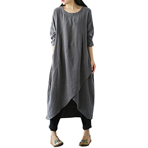 FEITONG Women Vintage Long Sleeve Tunic Baggy Long Maxi Dress Plus Size(Large,Gray) by FEITONG