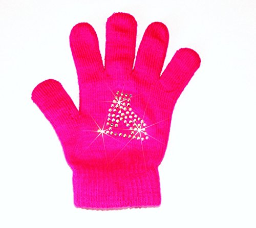 Neon Ice Skating Gloves with Skate Design (Neon Pink)