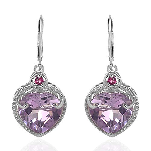 925 Sterling Silver Platinum Plated Pink Amethyst Rhodolite Garnet Dangle Drop Earrings Cttw 5.4