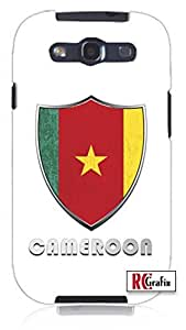 Premium Cameroon Flag Badge Direct UV Printed Unique Quality Hard Snap On Case for Samsung Galaxy S3 SIII i9300 (WHITE)