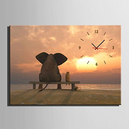 Pendant Quartz Sunset (CLOCK Wall Canvas Painting Elephant Sunset Back Wall Decoration Draw Frameless Painting Creativity Pendant Ornaments Living Room Offices,S)