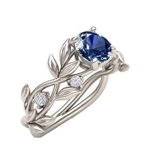 ManxiVoo Floral Rings Women's Transparent Diamond Flower Vine Leaf Rings Engagement Wedding Rings Jewelry (Dark Blue, 7)