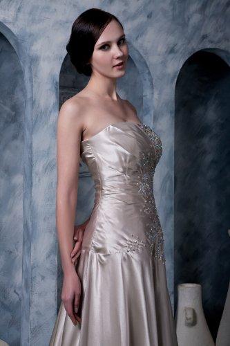 Lange Neu Elegante BRIDE mit Sekt traegerlosen GEORGE Abendkleid Perlen satin verziert ax17fwpIqn