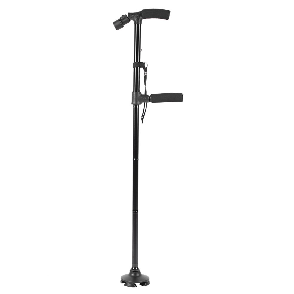 Travel Folding Walking Cane, Double Handle Design with Flashlight LED Lights Build-in Comfortable Cushion Handle Adjustable Stick for Get Up and Go