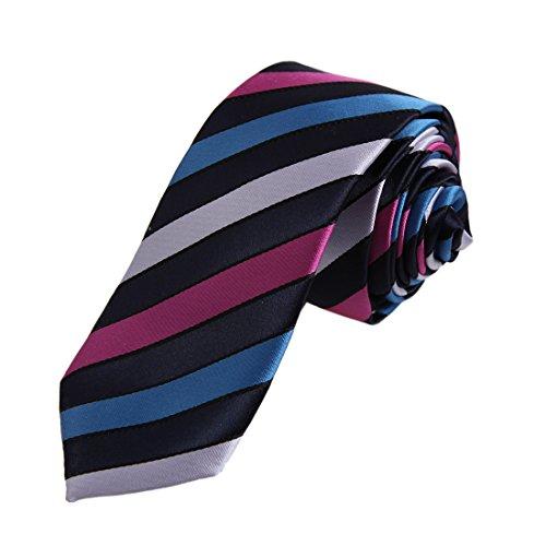DAE7A19F Midnight Blue Magenta Stripes Microfiber Skinny Tie Buy For Lawyers Slim Tie By Dan Smith -