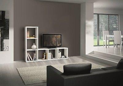 Legno Bianco Frassinato : Libreria parete moderno porta tv legno bianco frassinato