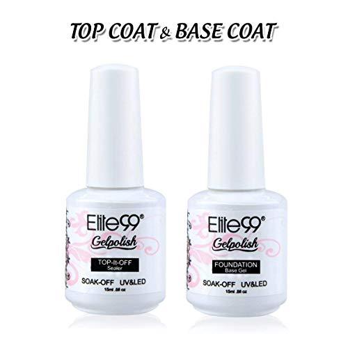 Elite99 Gel Nail Polish Base Coat Top Coat Set Soak Off UV LED Gel Nail Varnish Manicure Nail Art Set (15ML Top and Base Coat Set) (Best Nail Varnish For Not Chipping)