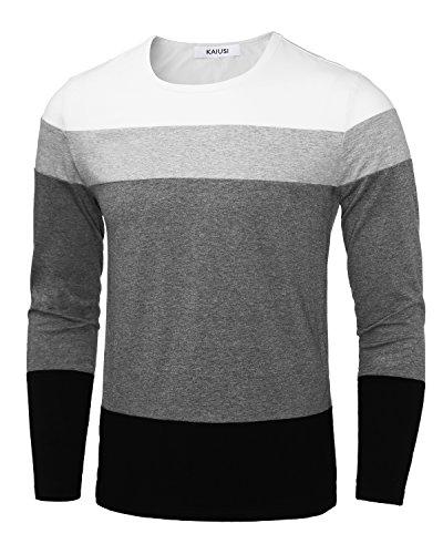 White Contrast Neck T-shirt - Soft Elasticity T-Shirts, Classic Slim Fit Contrast Color Stitch Crew Neck Long Sleeve Jersey T Shirt White L