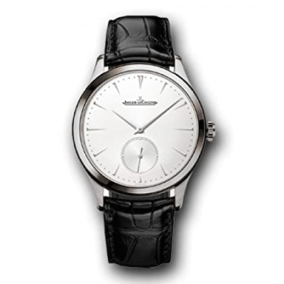 Jaeger LeCoultre Master Ultra Thin Silver Dial Black Leather Mens Watch Q1278420