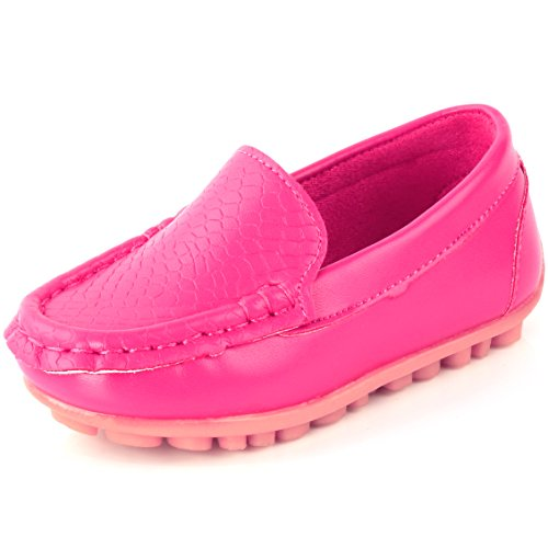 Femizee Toddler Boys Girls Loafers Shoes Casual Moccasin Slip On Dress Wedding Shoes for Kids,Hot Pink,1301 CN -