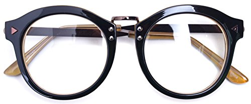 Oversized Big Round Horn Rimmed Eye Glasses Clear Lens Oval Frame Non Prescription (Black - Oval Eyeglasses