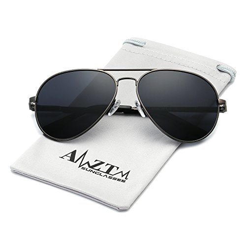 AMZTM Classic Fashion Double Bridge Metal Frame Polarized Lens Aviator Men and Women Sunglasses (BK-033-Grey Frame Grey, 62) -