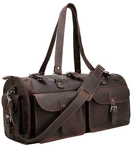 Polare 22'' Indiana Jones Looking Natural Leather Weekender Carry On Duffle Duffel Bag -