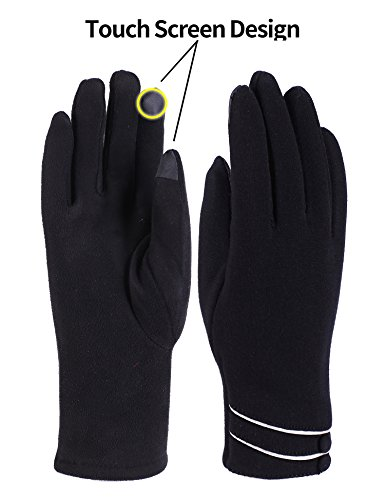 Adult Fleece Gloves (Womens Winter Gloves Touch Screen Thick Warm Windproof Adult Hand Outdoor Mittens Gloves (Fleece Lining) (black))