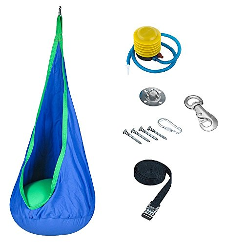 Cheap Kids Pod Swing Seat Hammock Sensory Swing w/ Swivel Hook (Blue)