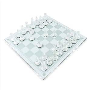 Relaxdays Juego de ajedrez Piezas de cristal 32 piezas 25 x 25 cm