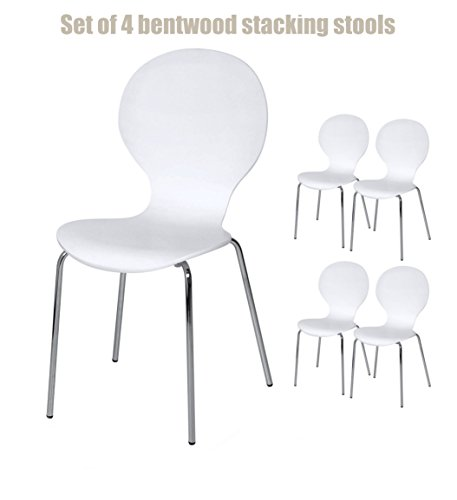Contemporary Style Bentwood Chairs Ergonomically Comfort Contoured Seat  Stable Silver Chrome Legs Lightweight Protective Finish Stackable