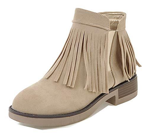 Classique Cheville Femme Boots Aisun Frange Avec Beige Bout Chelsea Rond Zip 5AFxUxwnq