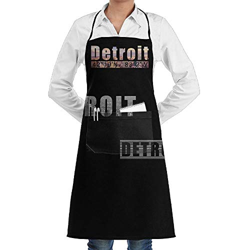 SARA NELL American State Detroit Adjustable Bib Aprons with Pockets for Women and Men- Adjustable Neck Strap Apron - Extra Long ()
