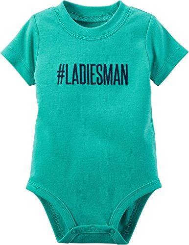 [Carters Baby Girls Ladies Man Bodysuit Green 6M] (Green Man Body Suit)
