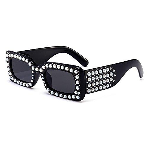 Lujo Cuadrado De Perla Sol Negro Gafas Mujer Sol De Regalo Mujer La Parte De Rectángulo Gafas De TIANLIANG04 Ix8qYzw8