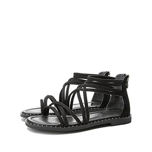 Nero con tacco Sandali alti Pantofole 35 alla a tacco Tacchi DHG Sandali da donna basso estivi piatti Sandali casual moda basso Bq7pxPHw