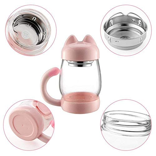 Cute Cat Tea Mugs - BZY1 420 ml / 14 oz Portable Glass Tea Cup With a Lid and Strainer - Heat Resistant Mugs Gift (Blue)