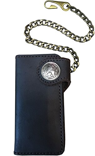 Leather with Men's Wallet Chain Black D'SHARK Genuine Billfold Biker DSW4C dwtnYYxq