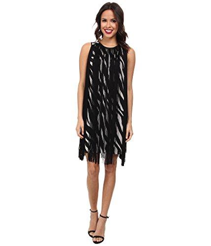 MICHAEL Michael Kors Women's Ghanzi Sleeveless Fringe Dress Ecru/Black MD - Michael Kors Zebra