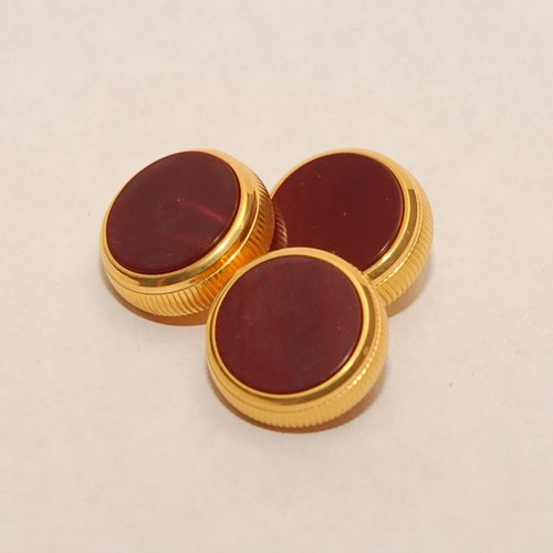 BACH Stradivarius Trumpet Finger 24K Gold-Plated Buttons Set of 3 with Scarlet