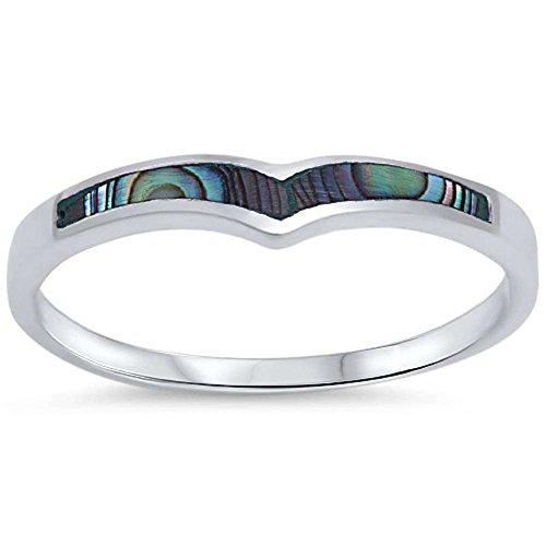 Wedding Engagement Ring V shape Abalone Shell 925 Sterling - To V Square Face Shape