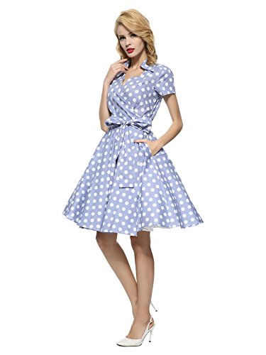 Maggie Tang 50s 60s Vintage Short Sleeves Rockabilly Party Dress Grey Blue M ()